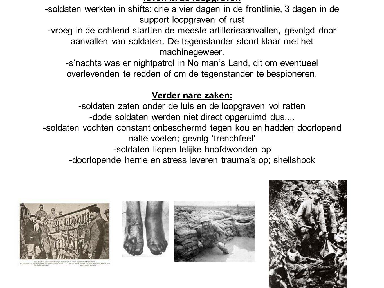 leven in de loopgraven -soldaten werkten in shifts: drie a vier dagen in de frontlinie, 3 dagen in de support loopgraven of rust -vroeg in de ochtend