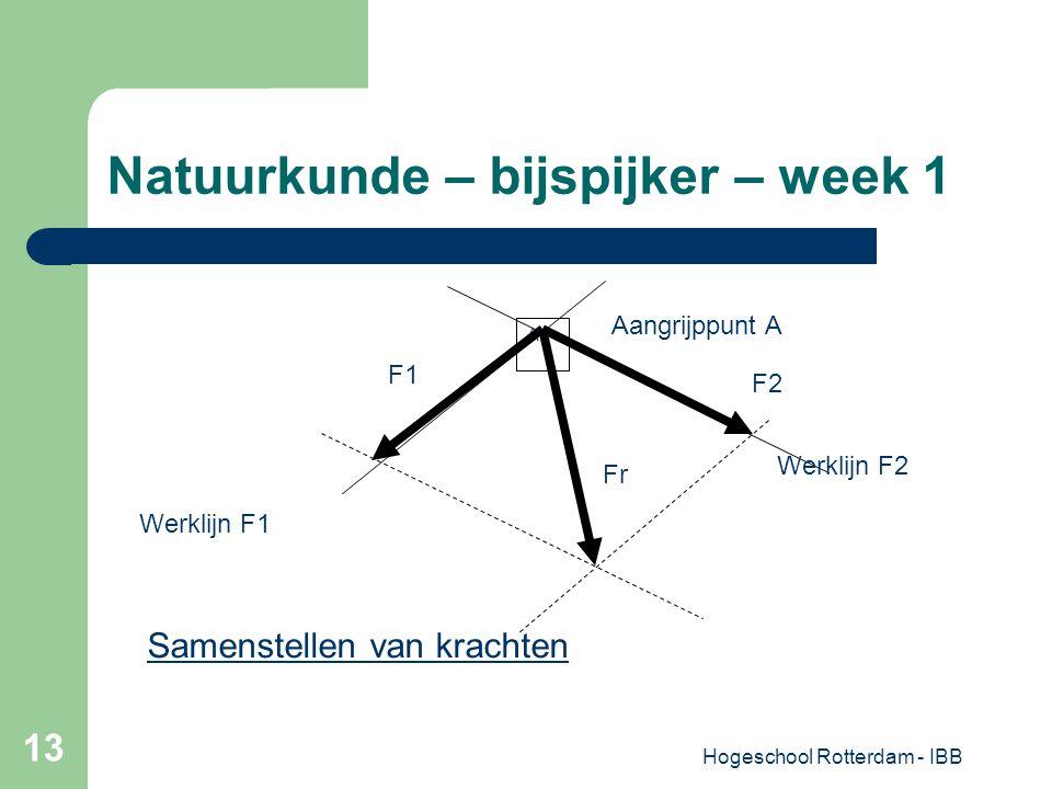 Hogeschool Rotterdam - IBB 13 Natuurkunde – bijspijker – week 1 A Aangrijppunt A Fr F2 F1 Werklijn F1 Werklijn F2 Samenstellen van krachten