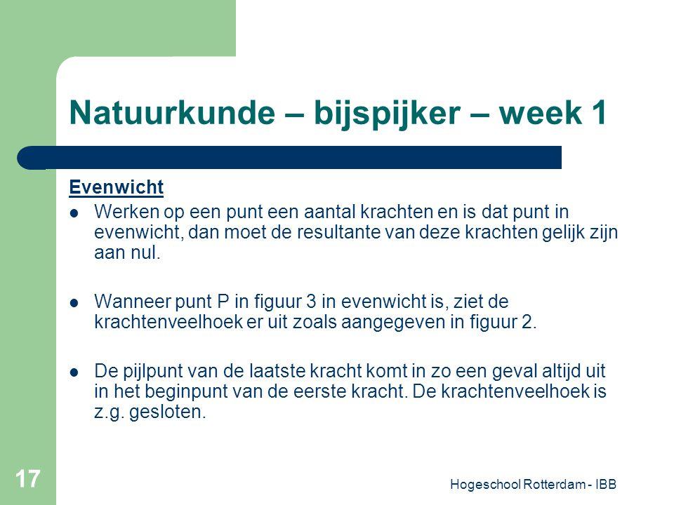 Hogeschool Rotterdam - IBB 17 Natuurkunde – bijspijker – week 1 Evenwicht Werken op een punt een aantal krachten en is dat punt in evenwicht, dan moet