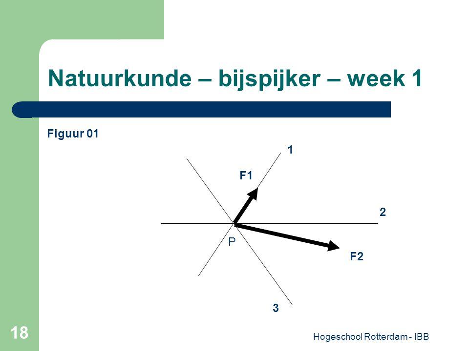 Hogeschool Rotterdam - IBB 18 Natuurkunde – bijspijker – week 1 1 F1 F2 P 2 3 Figuur 01