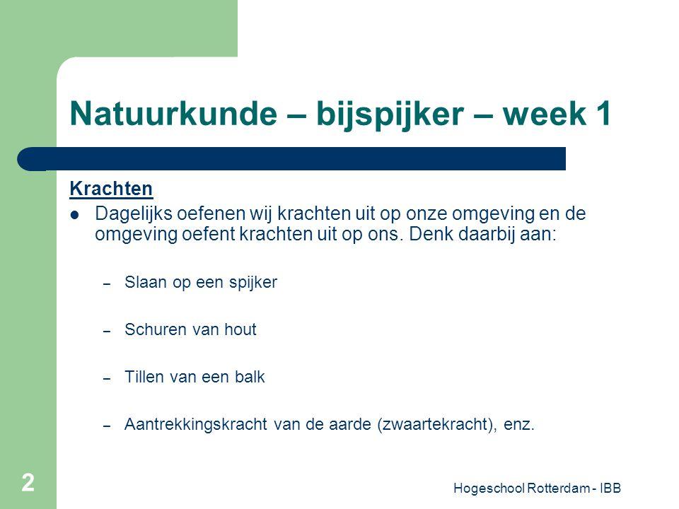 Hogeschool Rotterdam - IBB 2 Natuurkunde – bijspijker – week 1 Krachten Dagelijks oefenen wij krachten uit op onze omgeving en de omgeving oefent krac