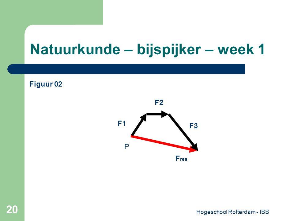 Hogeschool Rotterdam - IBB 20 Natuurkunde – bijspijker – week 1 P F res F2 F1 F3 Figuur 02