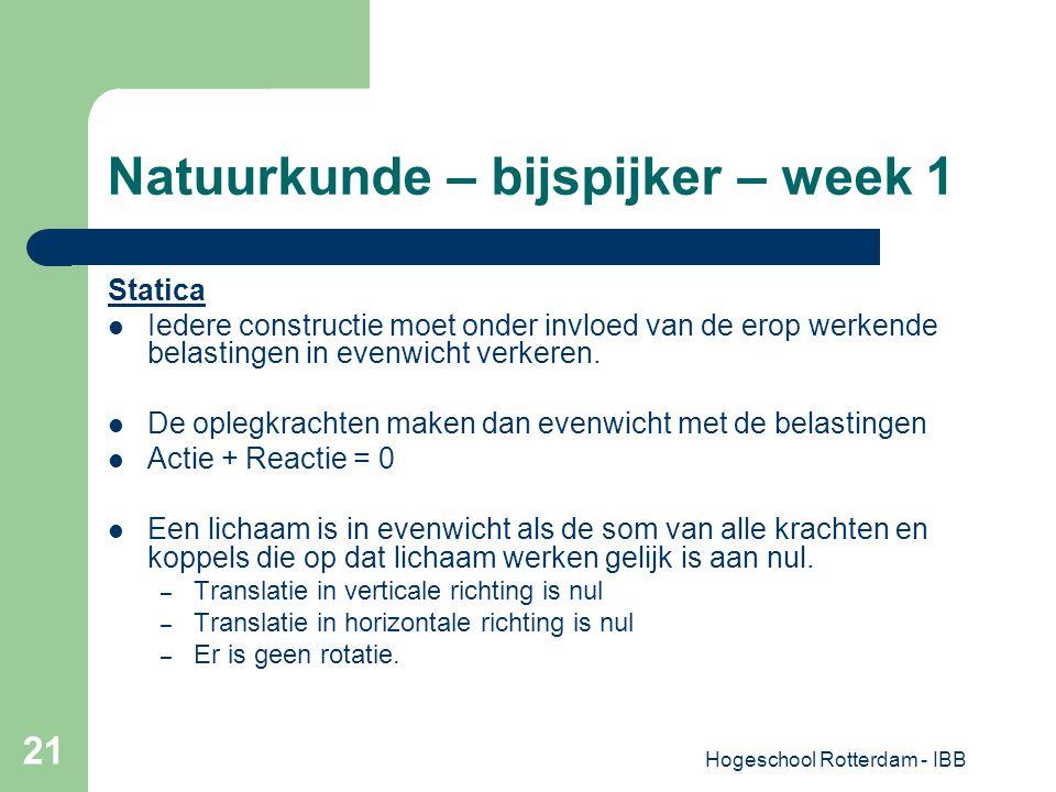 Hogeschool Rotterdam - IBB 21 Natuurkunde – bijspijker – week 1 Statica Iedere constructie moet onder invloed van de erop werkende belastingen in even