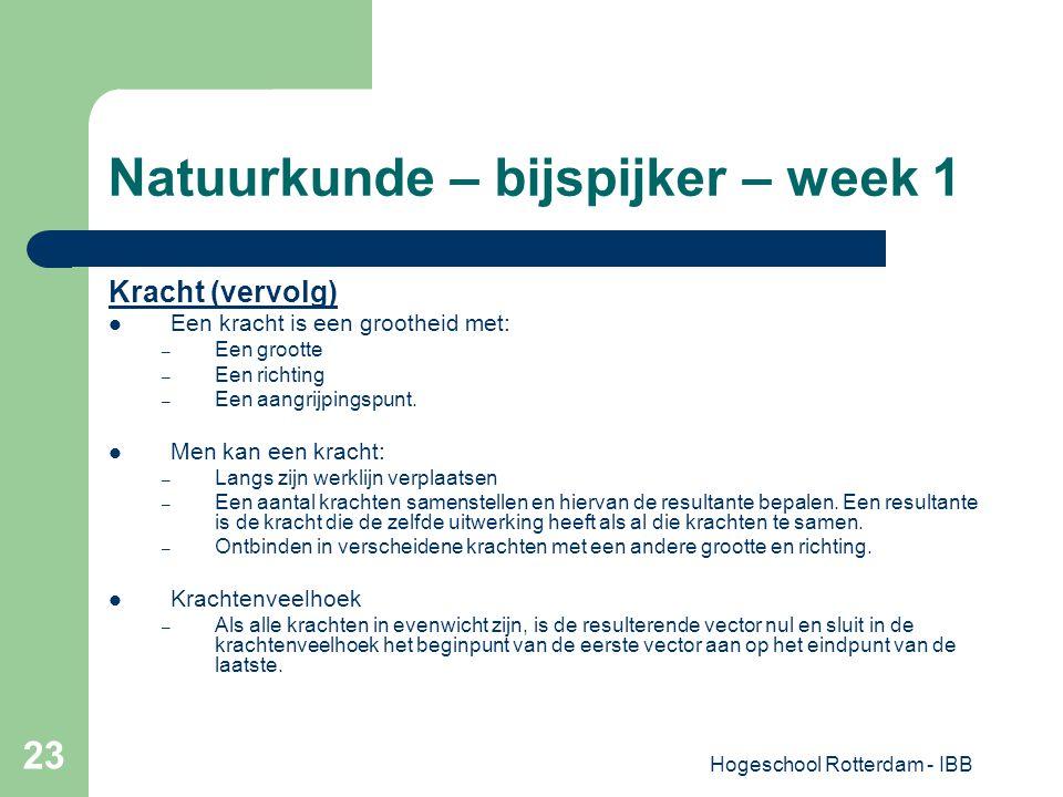 Hogeschool Rotterdam - IBB 23 Natuurkunde – bijspijker – week 1 Kracht (vervolg) Een kracht is een grootheid met: – Een grootte – Een richting – Een a