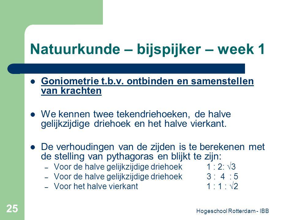 Hogeschool Rotterdam - IBB 25 Natuurkunde – bijspijker – week 1 Goniometrie t.b.v. ontbinden en samenstellen van krachten We kennen twee tekendriehoek