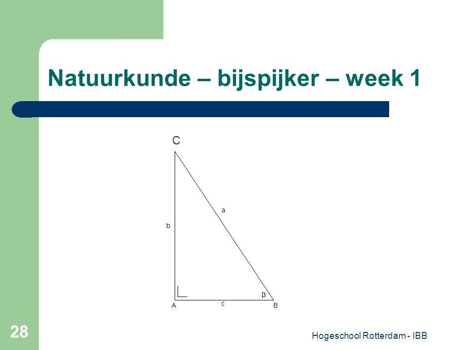 Hogeschool Rotterdam - IBB 28 Natuurkunde – bijspijker – week 1 C