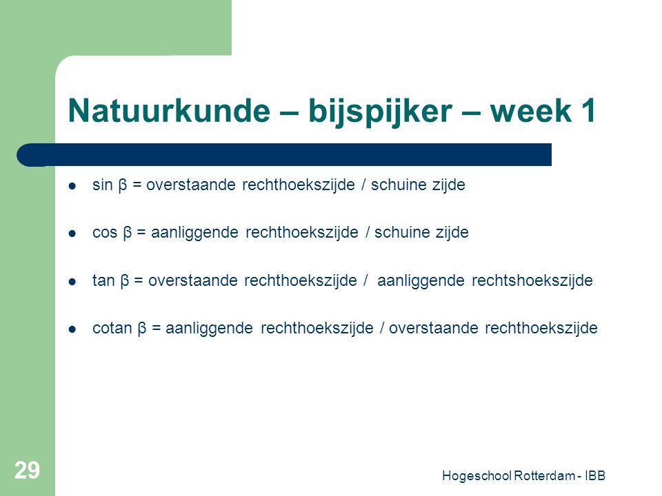 Hogeschool Rotterdam - IBB 29 Natuurkunde – bijspijker – week 1 sin β = overstaande rechthoekszijde / schuine zijde cos β = aanliggende rechthoekszijd