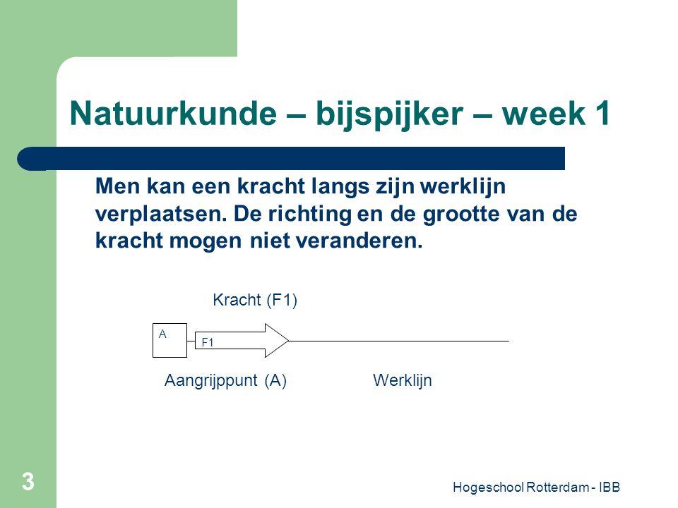 Hogeschool Rotterdam - IBB 3 Natuurkunde – bijspijker – week 1 A F1 Men kan een kracht langs zijn werklijn verplaatsen. De richting en de grootte van