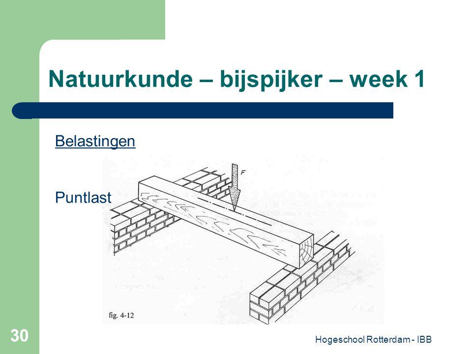 Hogeschool Rotterdam - IBB 30 Natuurkunde – bijspijker – week 1 Belastingen Puntlast