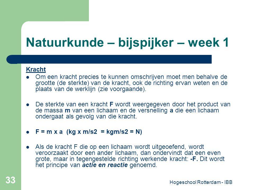 Hogeschool Rotterdam - IBB 33 Natuurkunde – bijspijker – week 1 Kracht Om een kracht precies te kunnen omschrijven moet men behalve de grootte (de ste