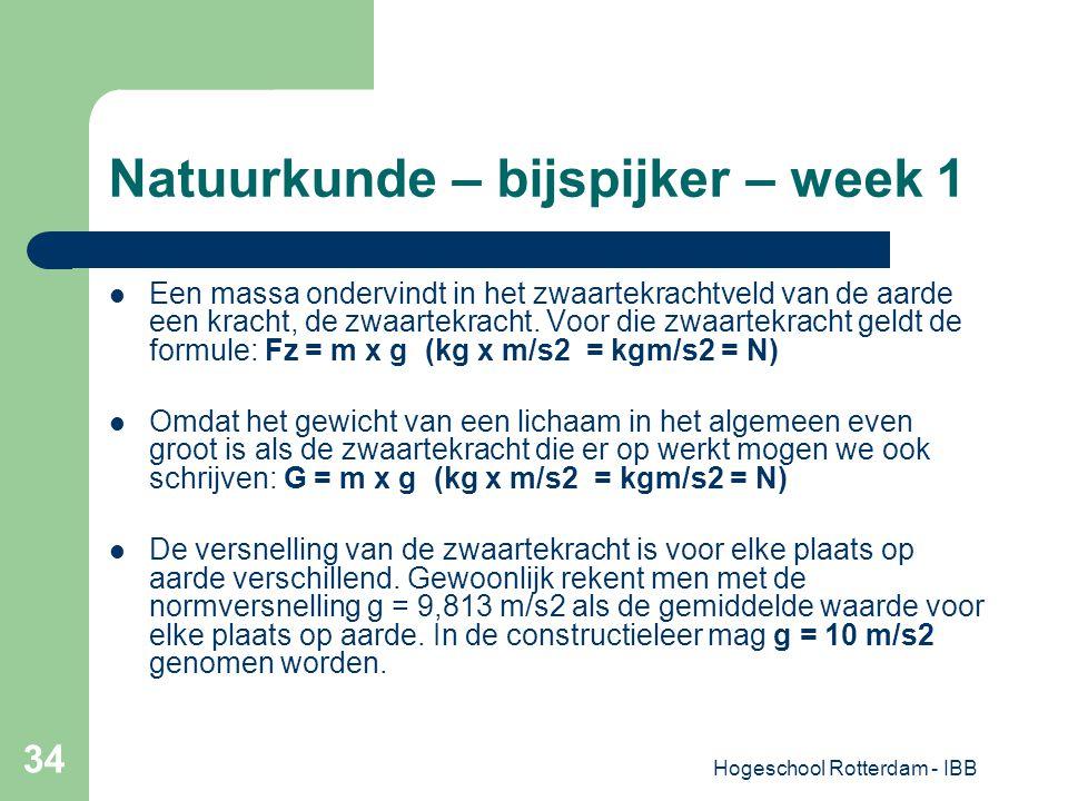 Hogeschool Rotterdam - IBB 34 Natuurkunde – bijspijker – week 1 Een massa ondervindt in het zwaartekrachtveld van de aarde een kracht, de zwaartekrach