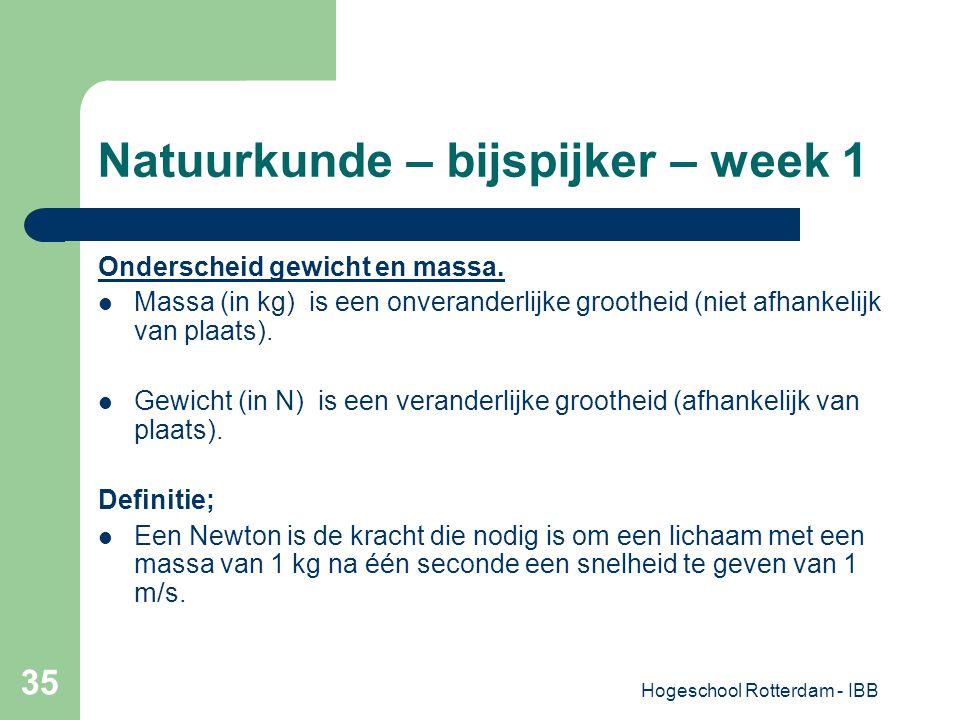 Hogeschool Rotterdam - IBB 35 Natuurkunde – bijspijker – week 1 Onderscheid gewicht en massa. Massa (in kg) is een onveranderlijke grootheid (niet afh