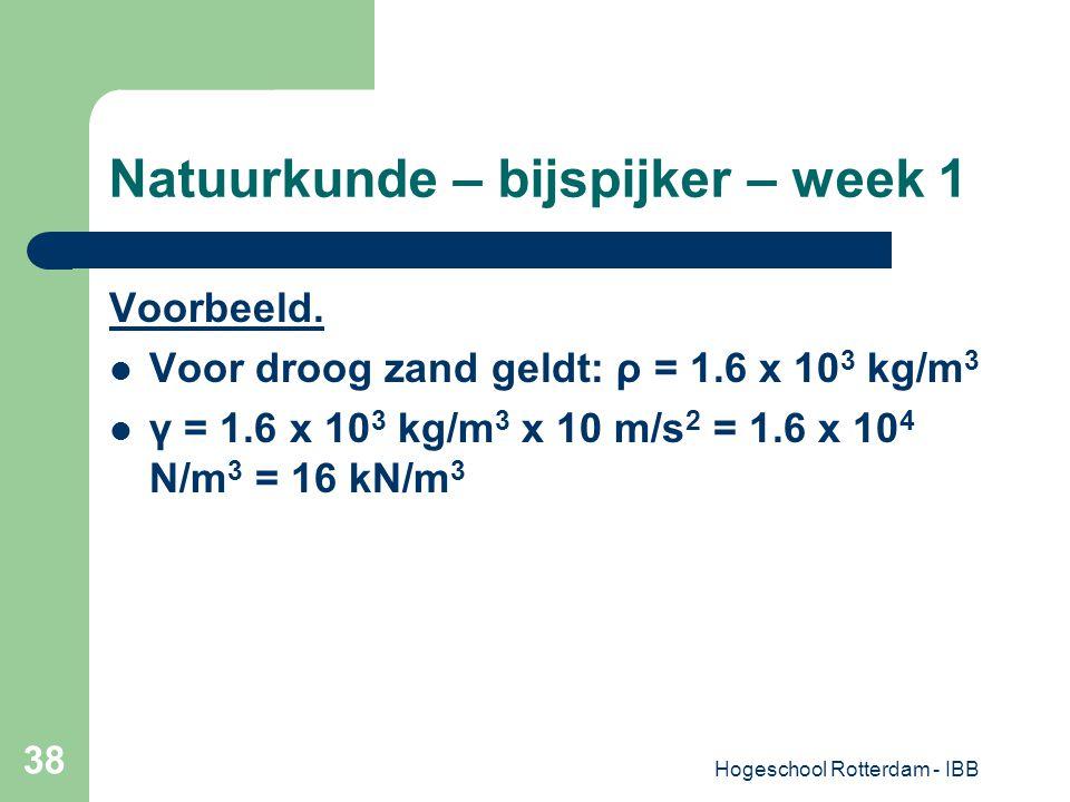 Hogeschool Rotterdam - IBB 38 Natuurkunde – bijspijker – week 1 Voorbeeld. Voor droog zand geldt: ρ = 1.6 x 10 3 kg/m 3 γ = 1.6 x 10 3 kg/m 3 x 10 m/s