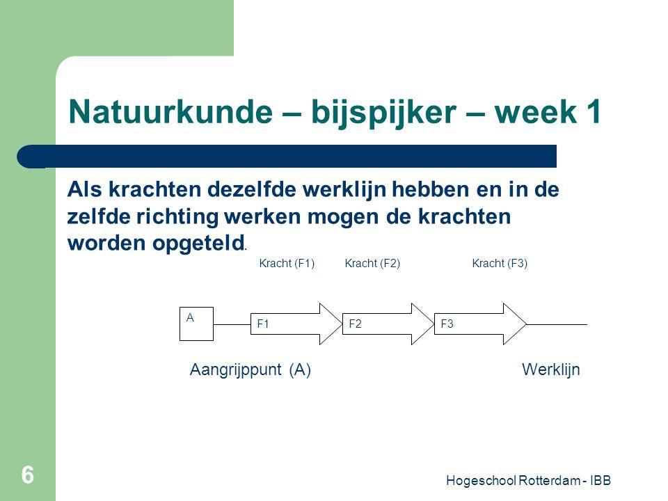 Hogeschool Rotterdam - IBB 6 Natuurkunde – bijspijker – week 1 A F1F2F3 Als krachten dezelfde werklijn hebben en in de zelfde richting werken mogen de
