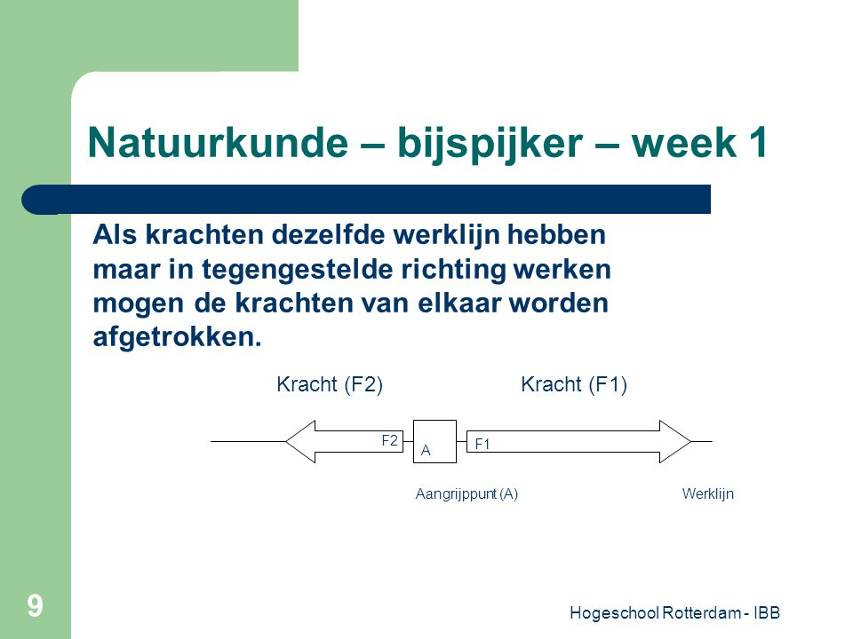 Hogeschool Rotterdam - IBB 9 Natuurkunde – bijspijker – week 1 A Als krachten dezelfde werklijn hebben maar in tegengestelde richting werken mogen de