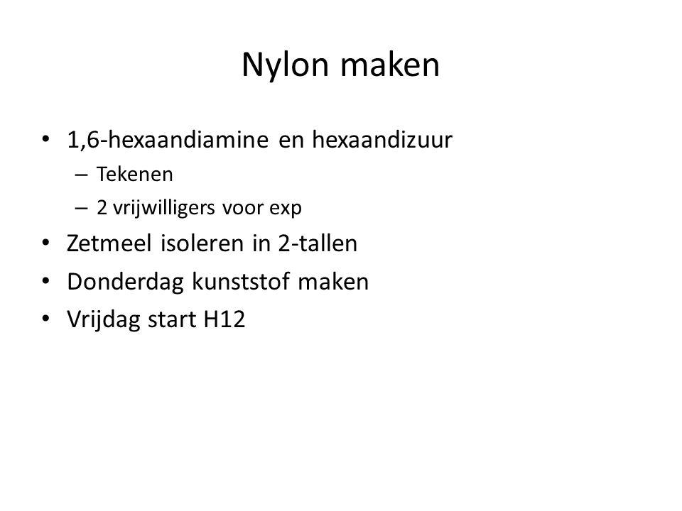 Nylon maken 1,6-hexaandiamine en hexaandizuur – Tekenen – 2 vrijwilligers voor exp Zetmeel isoleren in 2-tallen Donderdag kunststof maken Vrijdag star