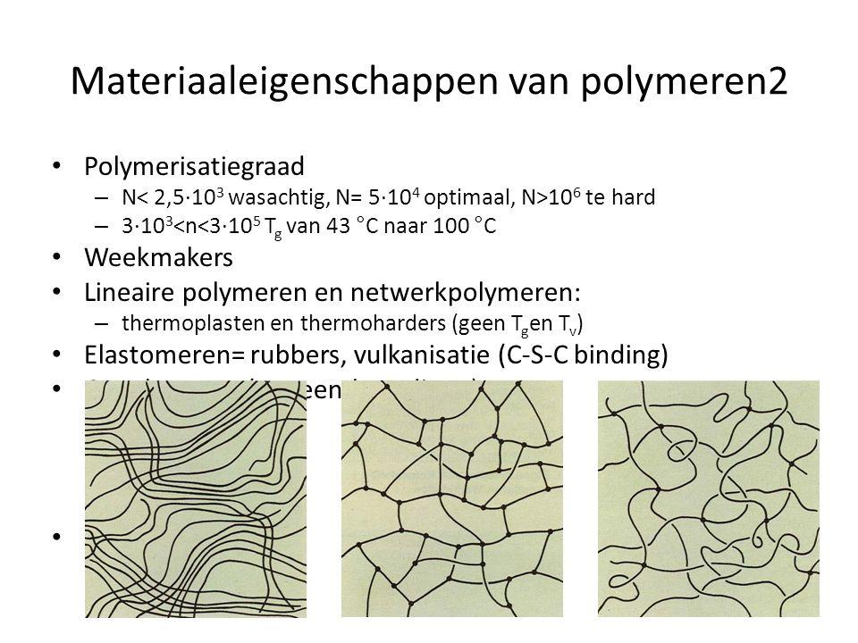 Materiaaleigenschappen van polymeren2 Polymerisatiegraad – N 10 6 te hard – 3·10 3 <n<3·10 5 T g van 43 °C naar 100 °C Weekmakers Lineaire polymeren e
