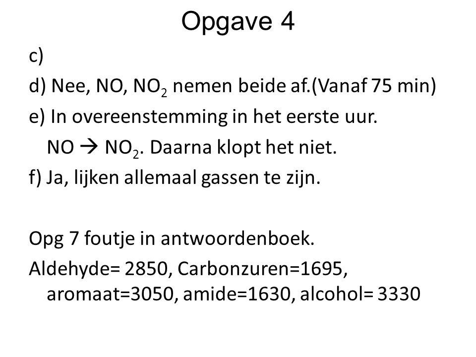 Opgave 4 c) d) Nee, NO, NO 2 nemen beide af.(Vanaf 75 min) e) In overeenstemming in het eerste uur. NO  NO 2. Daarna klopt het niet. f) Ja, lijken al