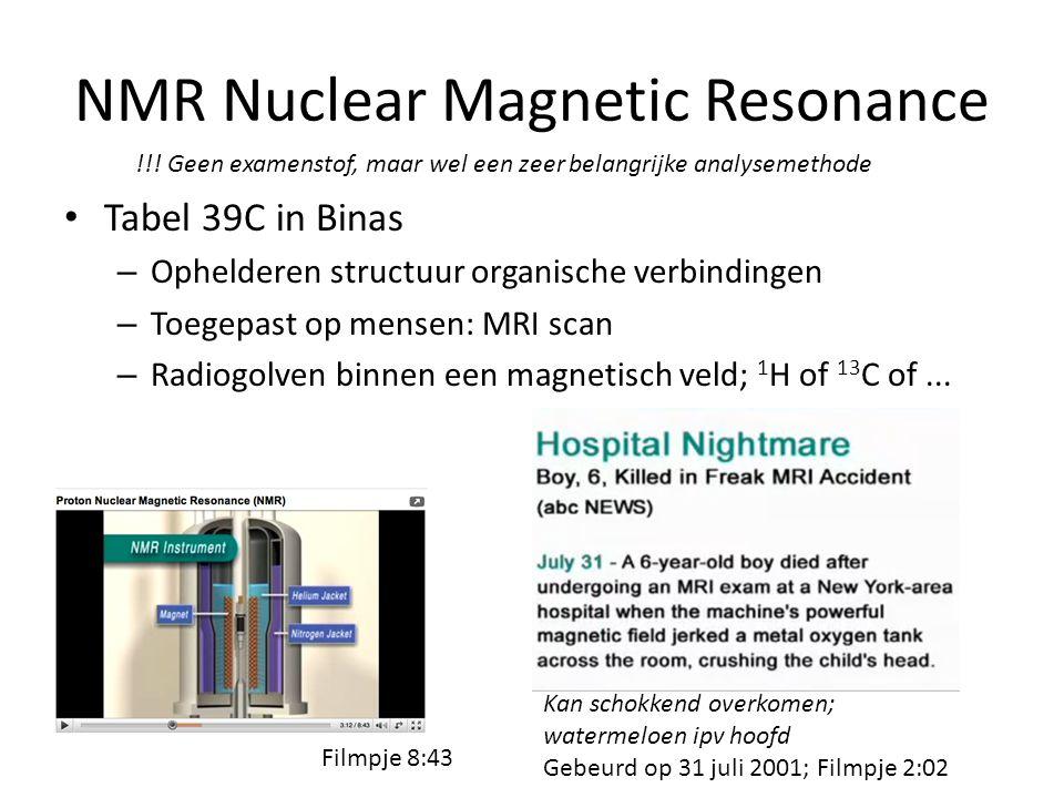 NMR Nuclear Magnetic Resonance Tabel 39C in Binas – Ophelderen structuur organische verbindingen – Toegepast op mensen: MRI scan – Radiogolven binnen een magnetisch veld; 1 H of 13 C of...