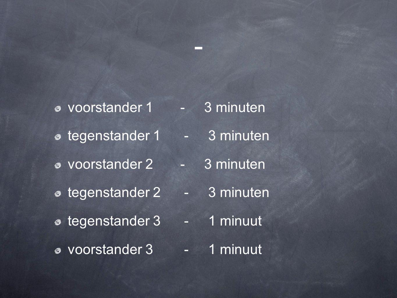 - voorstander 1 - 3 minuten tegenstander 1 - 3 minuten voorstander 2 - 3 minuten tegenstander 2 - 3 minuten tegenstander 3 - 1 minuut voorstander 3 -