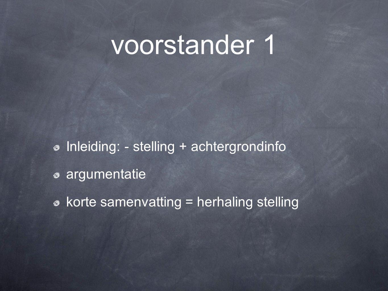 voorstander 1 Inleiding: - stelling + achtergrondinfo argumentatie korte samenvatting = herhaling stelling