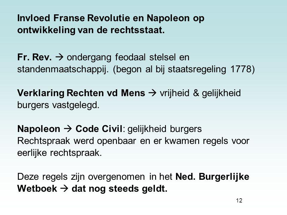 12 Invloed Franse Revolutie en Napoleon op ontwikkeling van de rechtsstaat. Fr. Rev.  ondergang feodaal stelsel en standenmaatschappij. (begon al bij