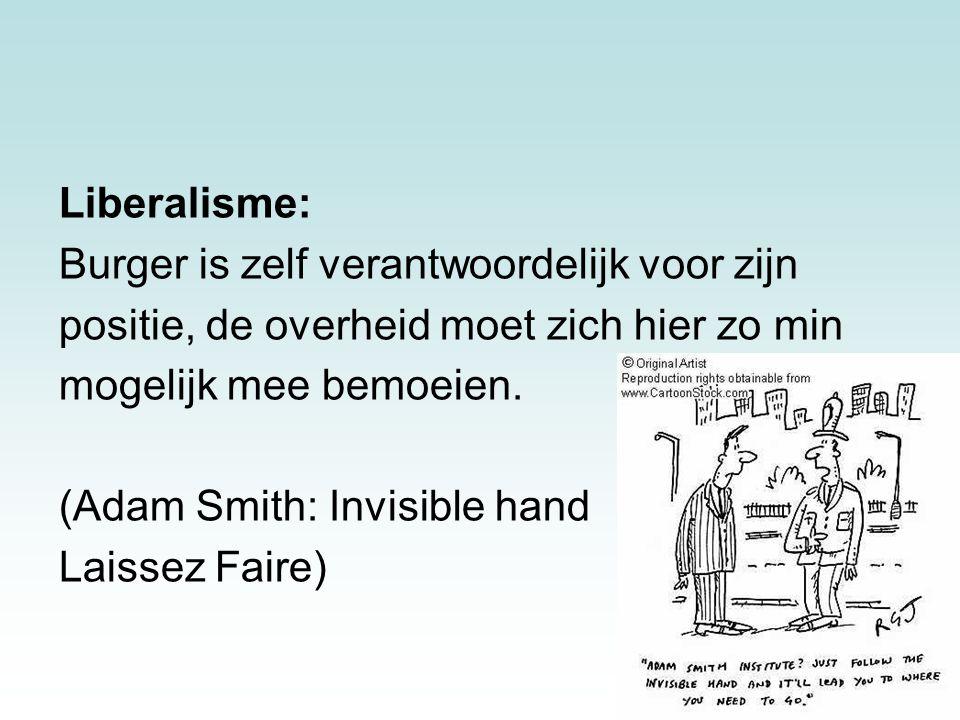 14 Liberalisme: Burger is zelf verantwoordelijk voor zijn positie, de overheid moet zich hier zo min mogelijk mee bemoeien. (Adam Smith: Invisible han
