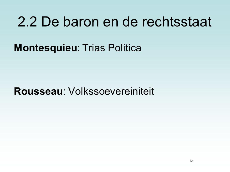 5 2.2 De baron en de rechtsstaat Montesquieu: Trias Politica Rousseau: Volkssoevereiniteit