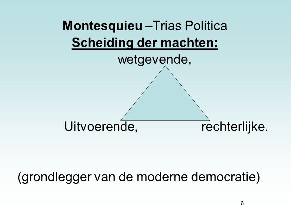 6 Montesquieu –Trias Politica Scheiding der machten: wetgevende, Uitvoerende, rechterlijke. (grondlegger van de moderne democratie)