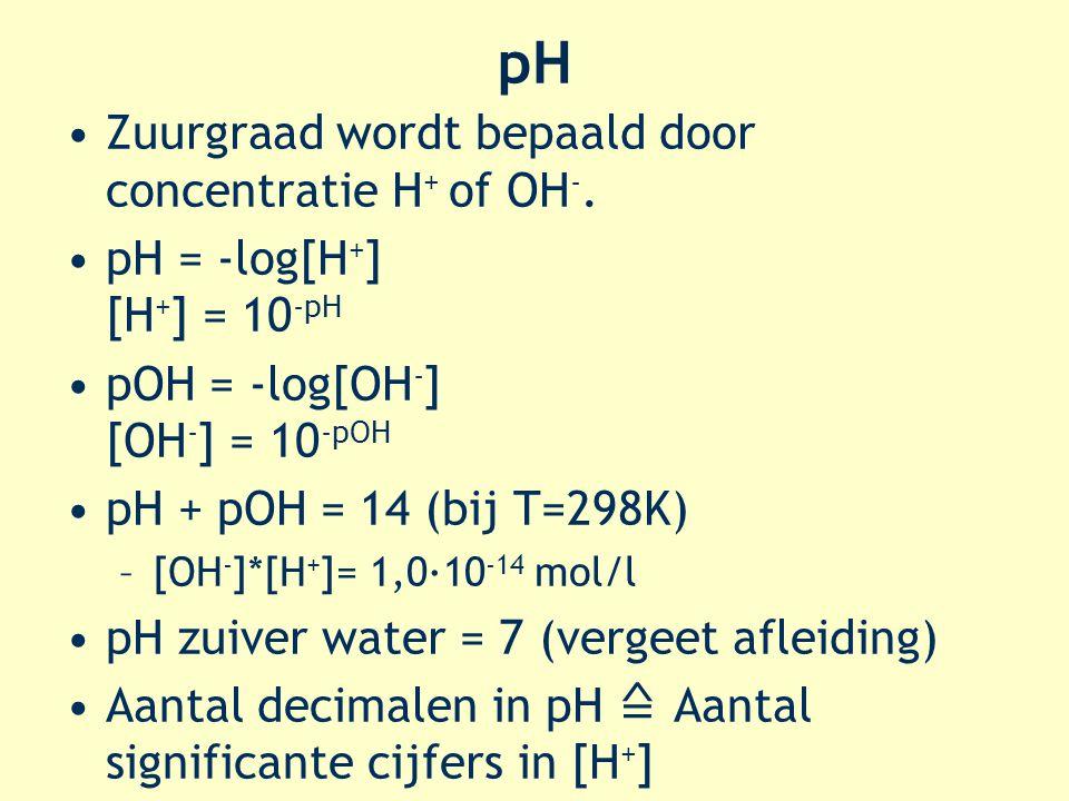 pH Zuurgraad wordt bepaald door concentratie H + of OH -. pH = -log[H + ] [H + ] = 10 -pH pOH = -log[OH - ] [OH - ] = 10 -pOH pH + pOH = 14 (bij T=298