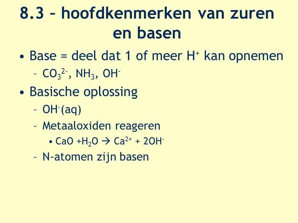 8.3 – hoofdkenmerken van zuren en basen Base = deel dat 1 of meer H + kan opnemen –CO 3 2-, NH 3, OH - Basische oplossing –OH - (aq) –Metaaloxiden reageren CaO +H 2 O  Ca 2+ + 2OH - –N-atomen zijn basen