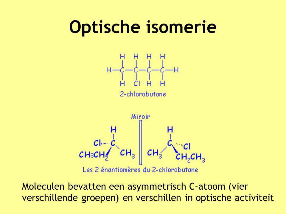 Optische isomerie Moleculen bevatten een asymmetrisch C-atoom (vier verschillende groepen) en verschillen in optische activiteit