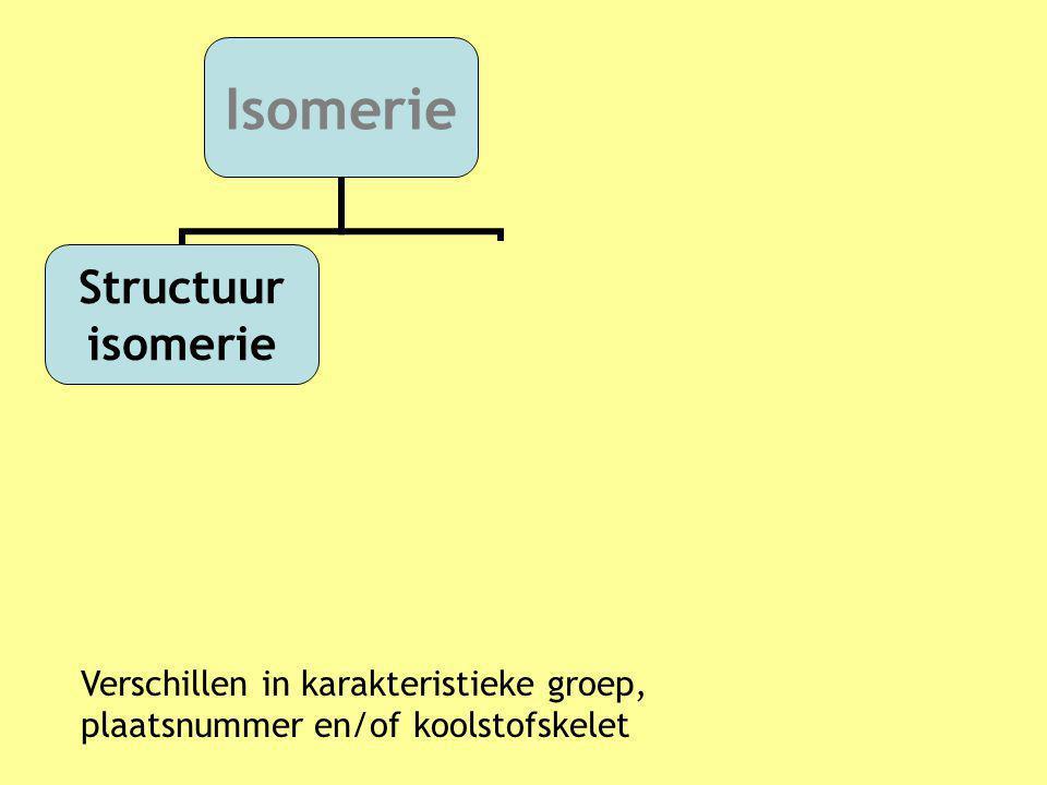 Verschillen in karakteristieke groep, plaatsnummer en/of koolstofskelet Isomerie Structuur isomerie Stereo isomerie Cis-trans isomerie Optische isomer