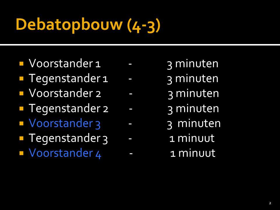 2 Debatopbouw (4-3)  Voorstander 1 - 3 minuten  Tegenstander 1 - 3 minuten  Voorstander 2 - 3 minuten  Tegenstander 2 - 3 minuten  Voorstander 3 - 3 minuten  Tegenstander 3 - 1 minuut  Voorstander 4 - 1 minuut