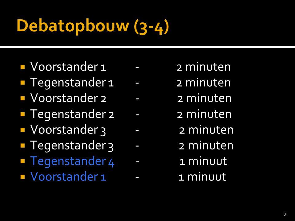 3 Debatopbouw (3-4)  Voorstander 1 - 2 minuten  Tegenstander 1 - 2 minuten  Voorstander 2 - 2 minuten  Tegenstander 2 - 2 minuten  Voorstander 3 - 2 minuten  Tegenstander 3 - 2 minuten  Tegenstander 4 - 1 minuut  Voorstander 1 - 1 minuut