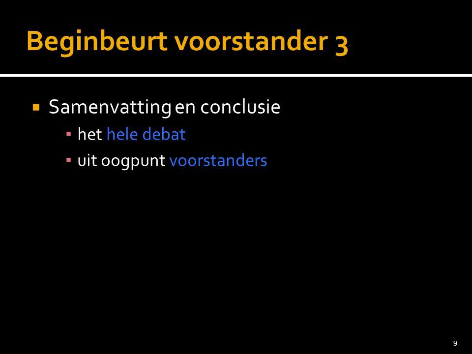9 Beginbeurt voorstander 3  Samenvatting en conclusie ▪ het hele debat ▪ uit oogpunt voorstanders