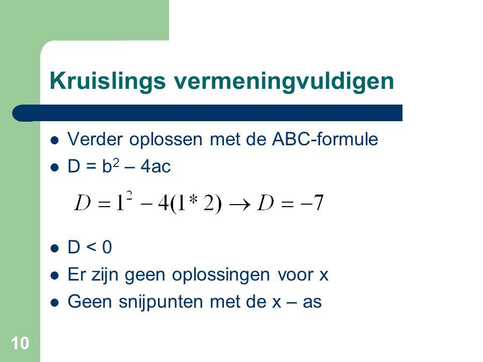 10 Kruislings vermeningvuldigen Verder oplossen met de ABC-formule D = b 2 – 4ac D < 0 Er zijn geen oplossingen voor x Geen snijpunten met de x – as