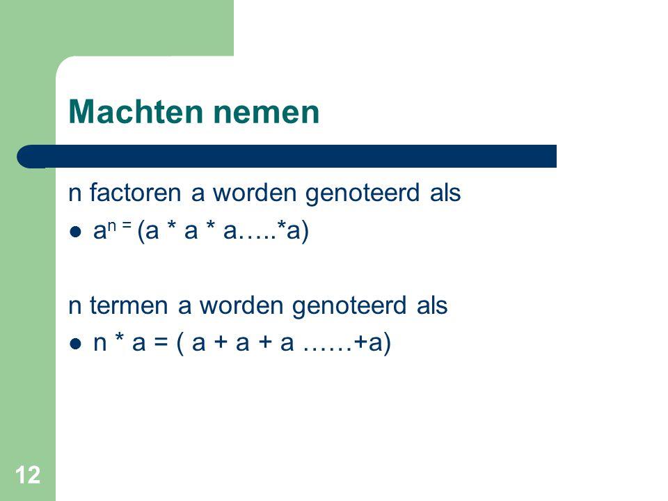 12 Machten nemen n factoren a worden genoteerd als a n = (a * a * a…..*a) n termen a worden genoteerd als n * a = ( a + a + a ……+a)