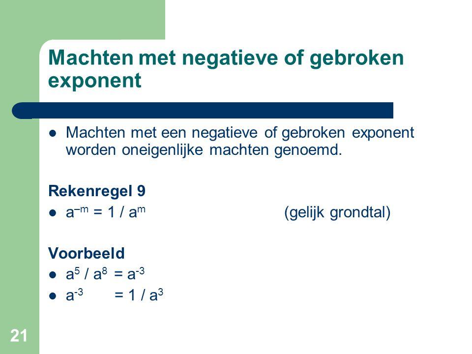21 Machten met negatieve of gebroken exponent Machten met een negatieve of gebroken exponent worden oneigenlijke machten genoemd. Rekenregel 9 a –m =