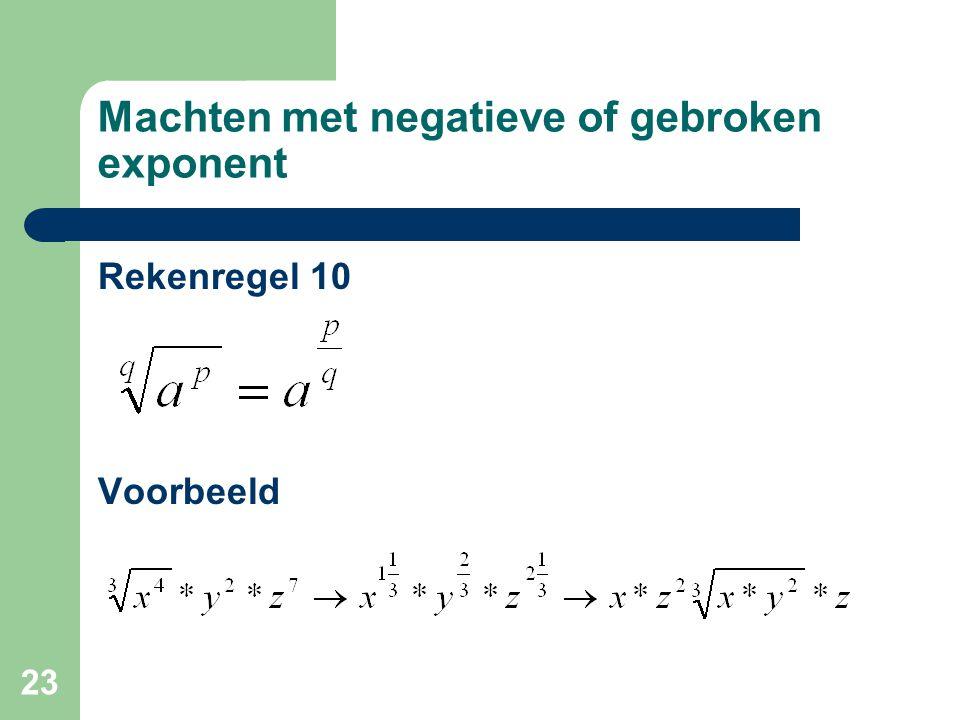 23 Machten met negatieve of gebroken exponent Rekenregel 10 Voorbeeld