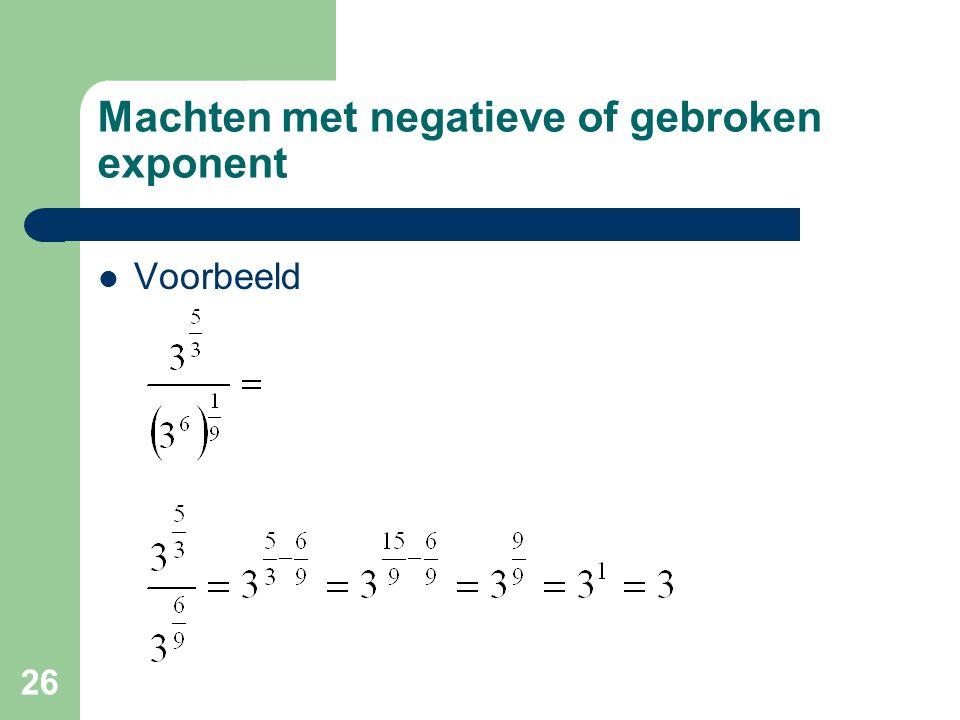 26 Machten met negatieve of gebroken exponent Voorbeeld