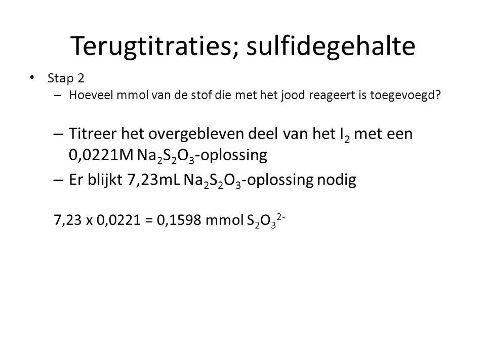Terugtitraties; sulfidegehalte Stap 2 – Hoeveel mmol van de stof die met het jood reageert is toegevoegd? – Titreer het overgebleven deel van het I 2