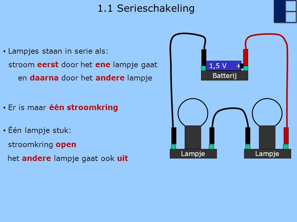 1.1 Parallelschakeling Lampje Batterij 1,5 V + Lampje Lampjes staan parallel als: één stroom door het ene lampje gaat en een andere stroom door het andere lampje Één lampje stuk: Er zijn twee stroomkringen het andere lampje blijft aan