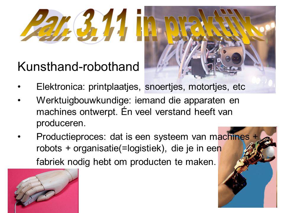 Kunsthand-robothand Elektronica: printplaatjes, snoertjes, motortjes, etc Werktuigbouwkundige: iemand die apparaten en machines ontwerpt. Én veel vers