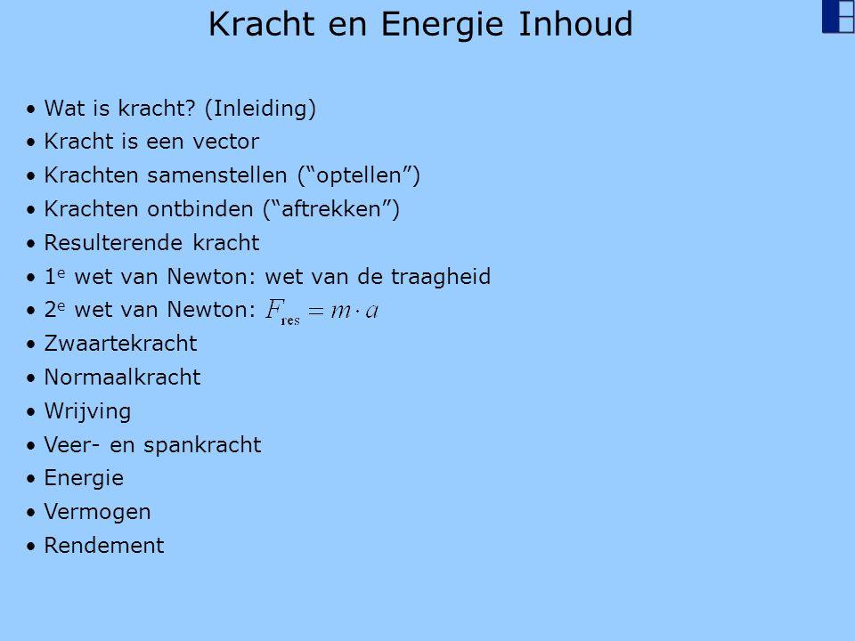 """Kracht en Energie Inhoud Wat is kracht? (Inleiding) Kracht is een vector Krachten samenstellen (""""optellen"""") Krachten ontbinden (""""aftrekken"""") Resultere"""