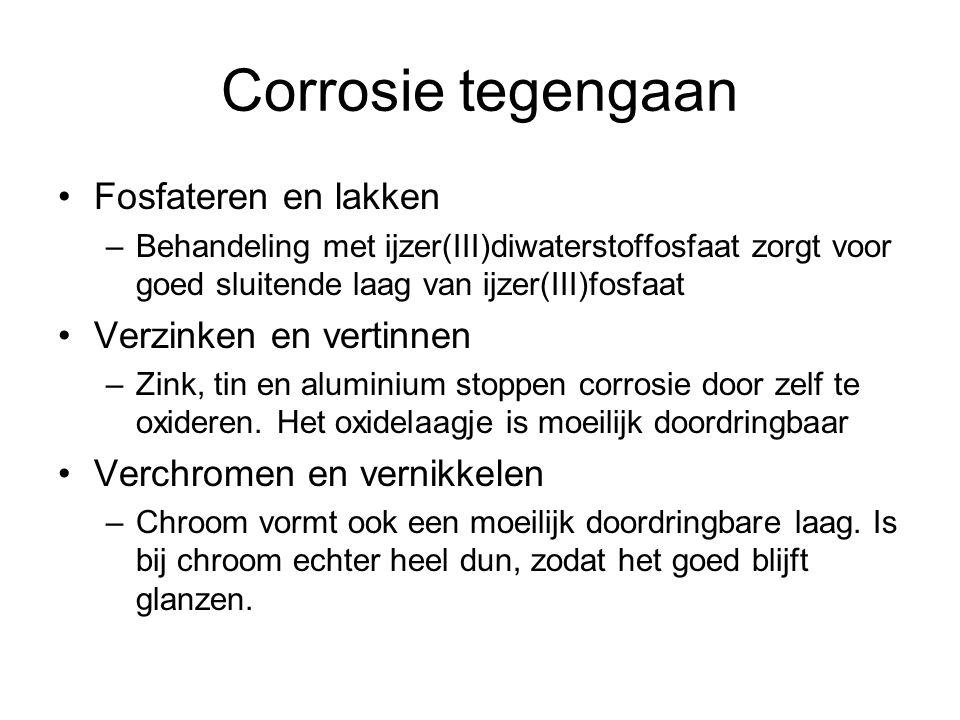 Corrosie tegengaan Fosfateren en lakken –Behandeling met ijzer(III)diwaterstoffosfaat zorgt voor goed sluitende laag van ijzer(III)fosfaat Verzinken e