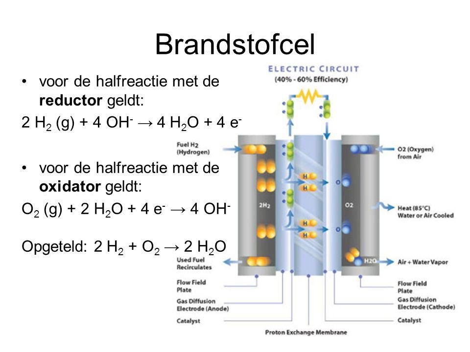 Brandstofcel voor de halfreactie met de reductor geldt: 2 H 2 (g) + 4 OH - → 4 H 2 O + 4 e - voor de halfreactie met de oxidator geldt: O 2 (g) + 2 H
