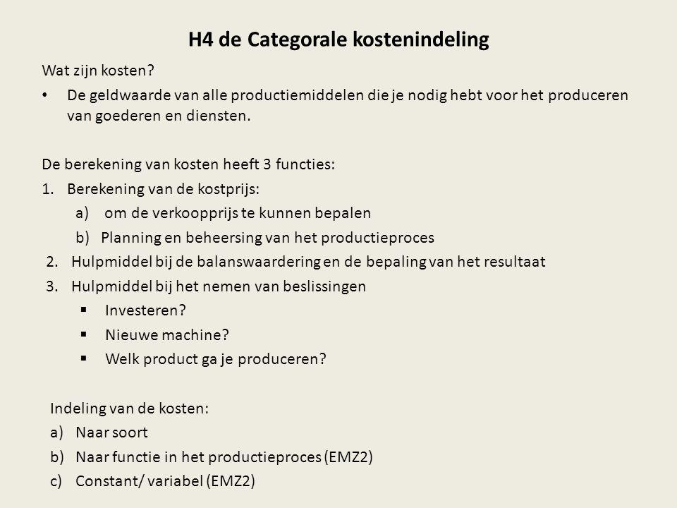 H4 de Categorale kostenindeling Wat zijn kosten? De geldwaarde van alle productiemiddelen die je nodig hebt voor het produceren van goederen en dienst