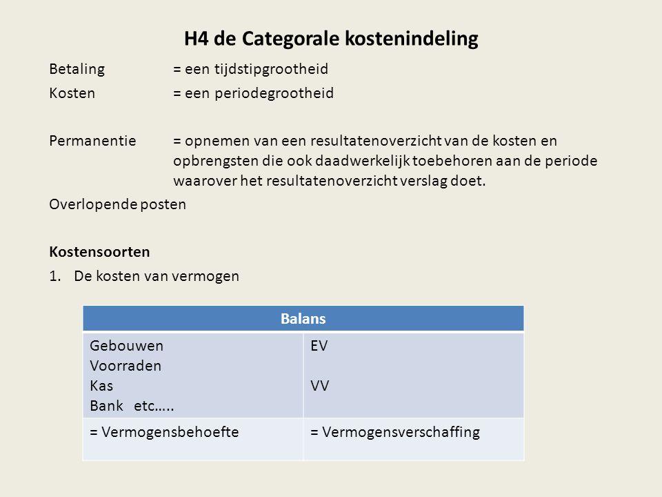 H4 de Categorale kostenindeling Betaling = een tijdstipgrootheid Kosten= een periodegrootheid Permanentie= opnemen van een resultatenoverzicht van de