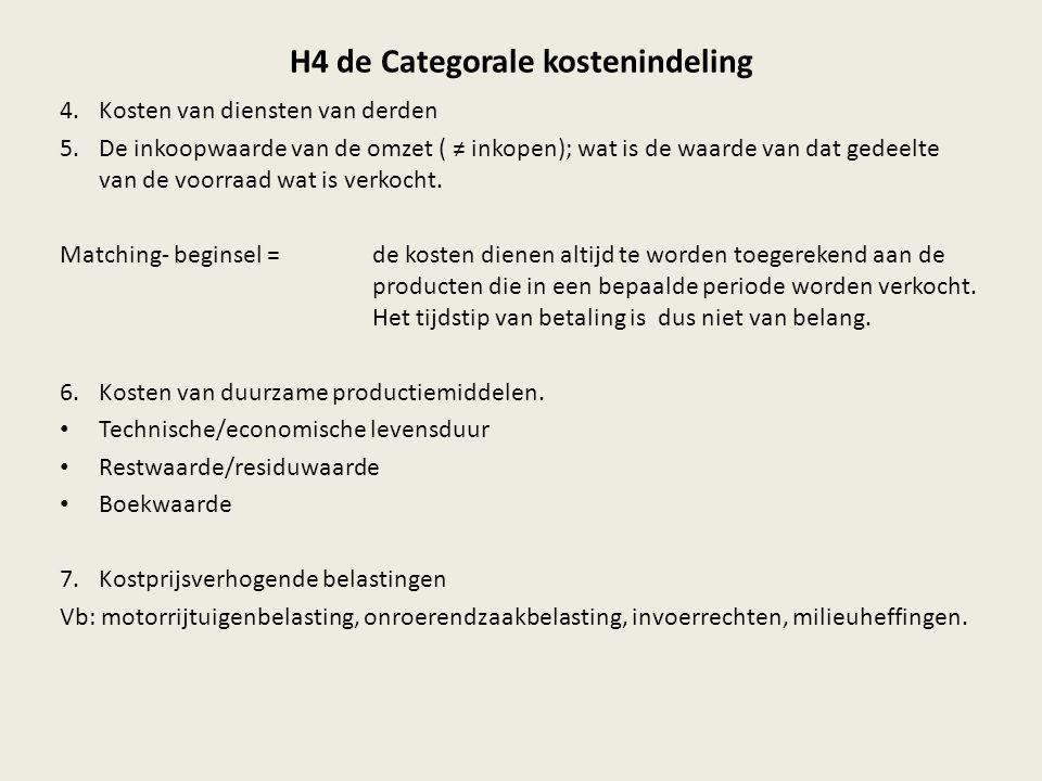 H4 de Categorale kostenindeling 4.Kosten van diensten van derden 5.De inkoopwaarde van de omzet ( ≠ inkopen); wat is de waarde van dat gedeelte van de